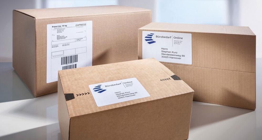 Försändelseetiketter i volymförpackningar